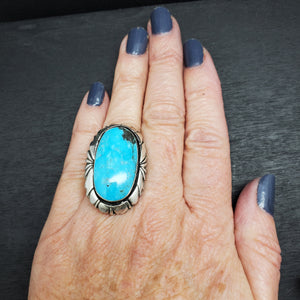 Sterling Silver Turquoise Statement Ring by Native American Artist