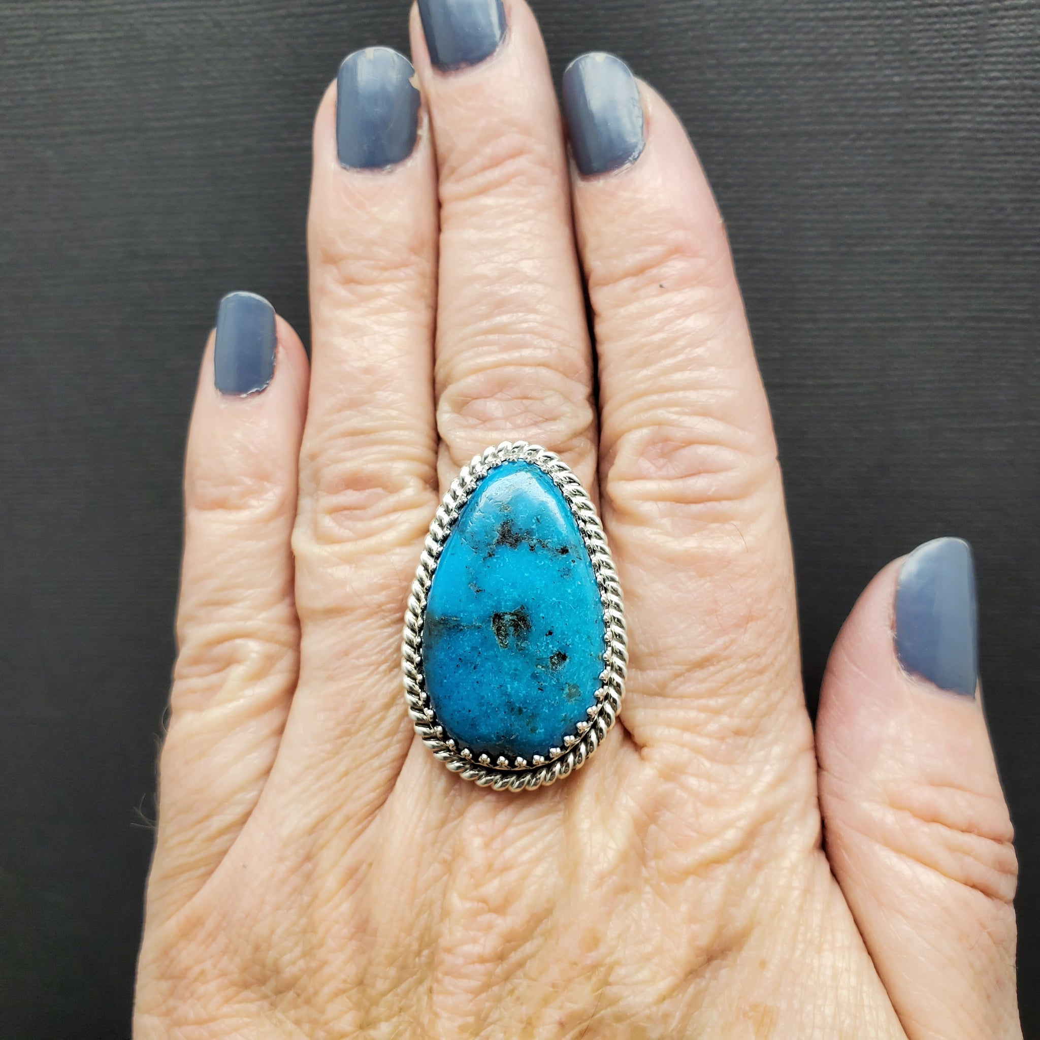 Sterling Silver Turquoise Adjustable Statement Ring by Raquel Hurley