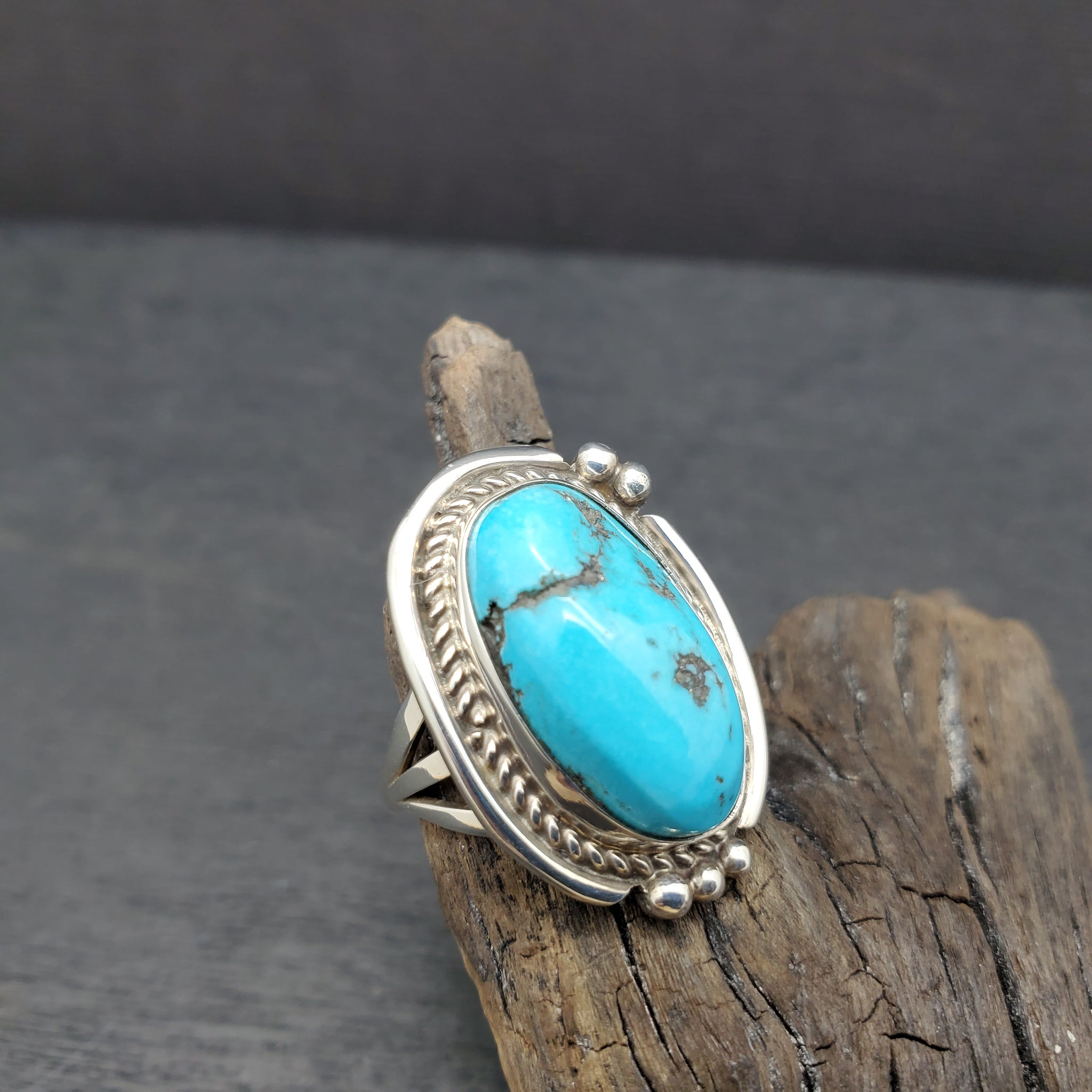 Sterling Silver Turquoise Ring by Harrison Yazzie