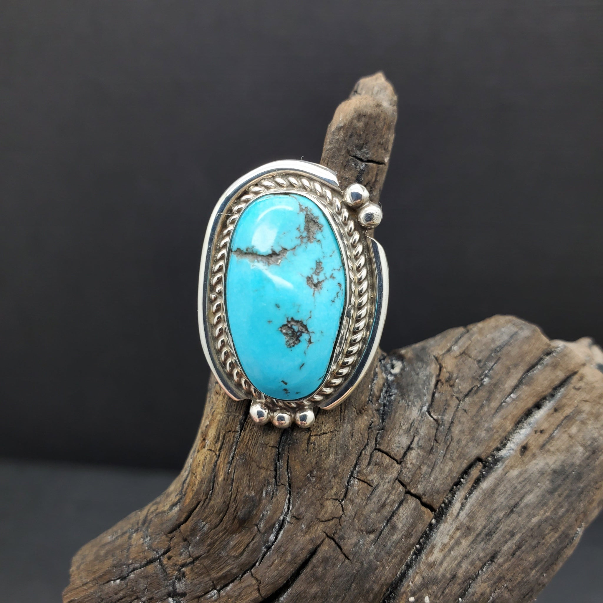 Navajo Artist Harrison Yazzie Made Sterling Silver Turquoise Ring Size 6