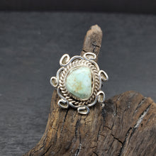 Navajo Artist JG Made Sterling Silver Dry Creek Turquoise Ring
