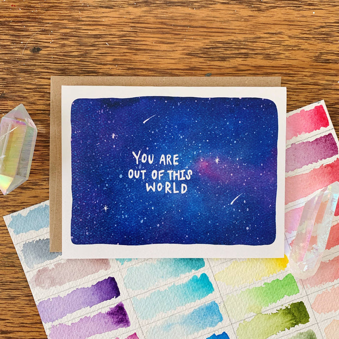 you are out of this world space blank greeting card jess weymouth