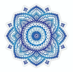 blue mandala flower waterproof vinyl sticker