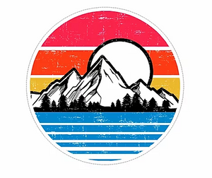 mountains and sunset with lake waterproof vinyl sticker
