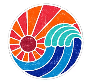 orange and red sun ray with wave vinyl waterproof sticker