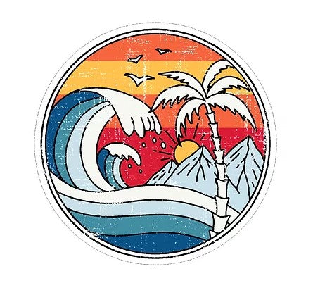 sun waves and mountains vinyl sticker cabana