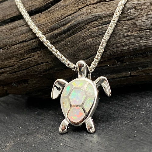 sterling silver opal turtle necklace