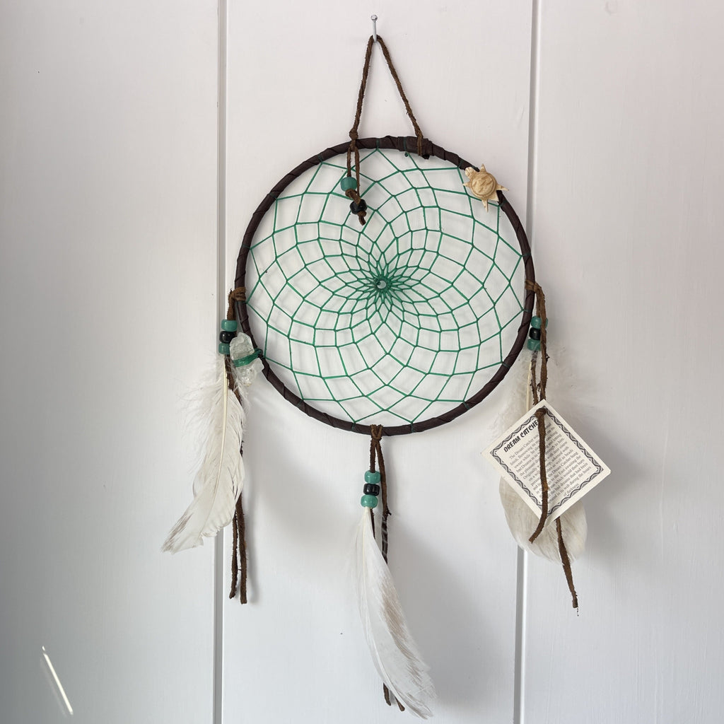 dream catcher Native American handmade with crystal and turtle talisman