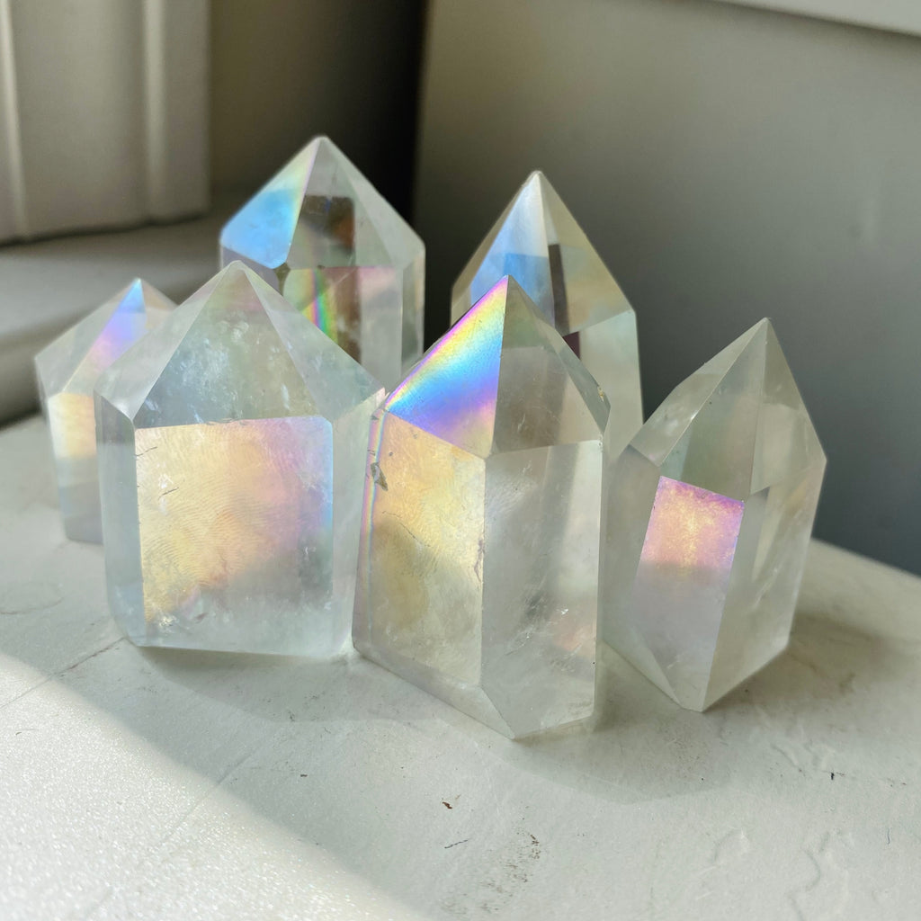 small angel aura clear quartz tower point
