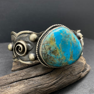 sterling silver native american navajo made turquoise statement cuff by chimney butte and jessie claw