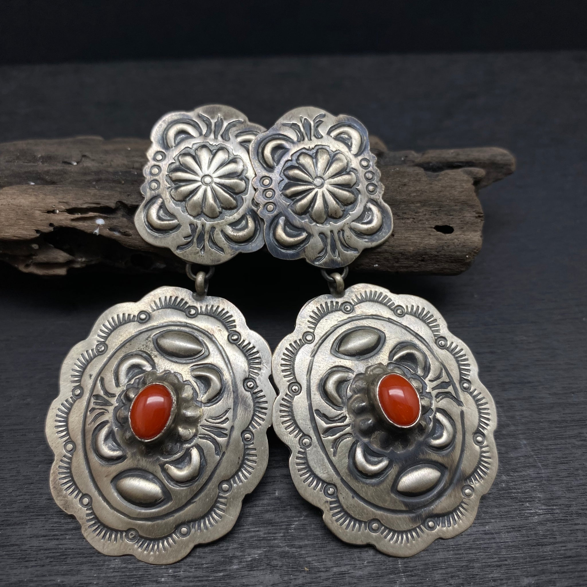 sterling silver oxidized red coral stud earrings by navajo native american artist Marcella James