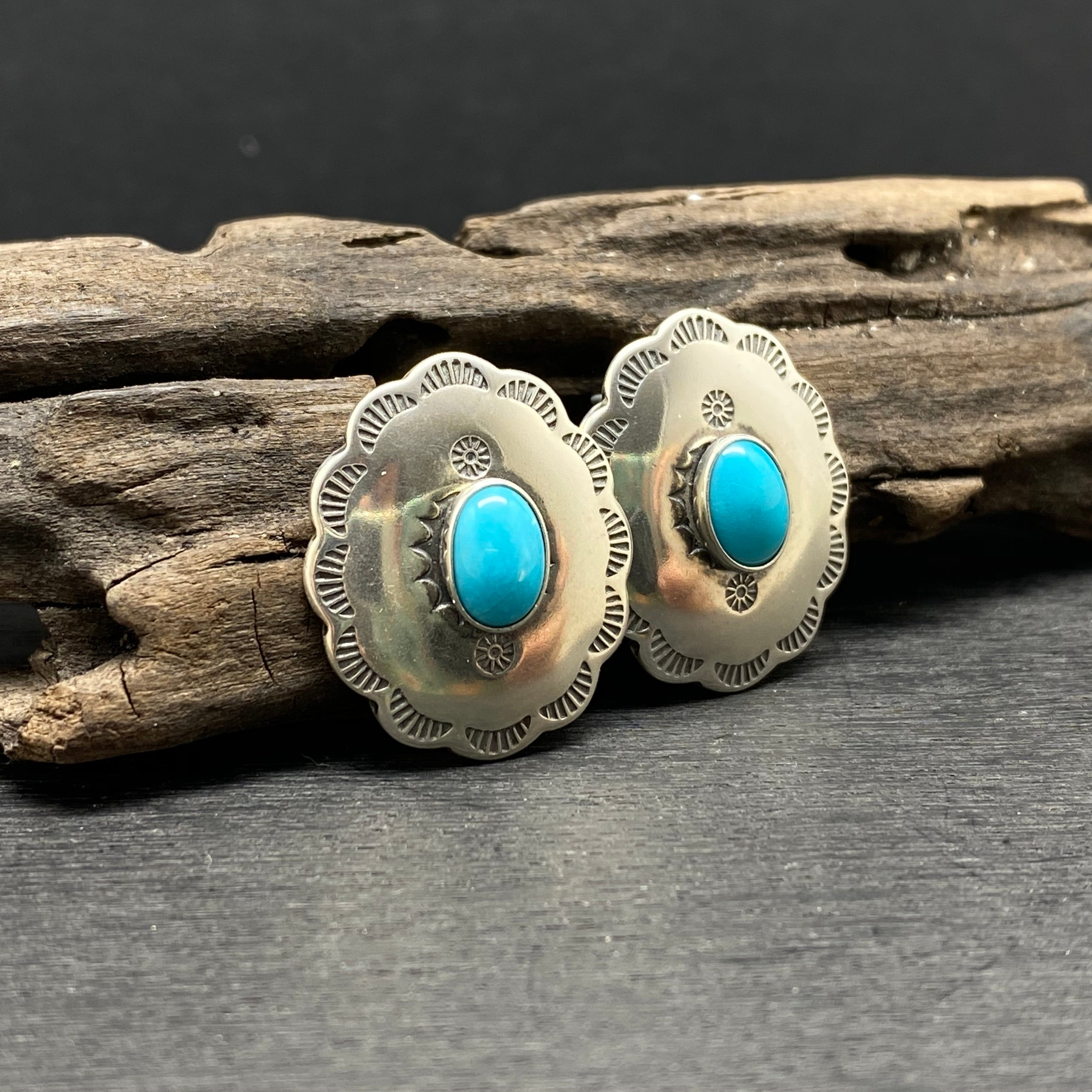 Sterling Silver Turquoise Concho Studs by Native American Artist