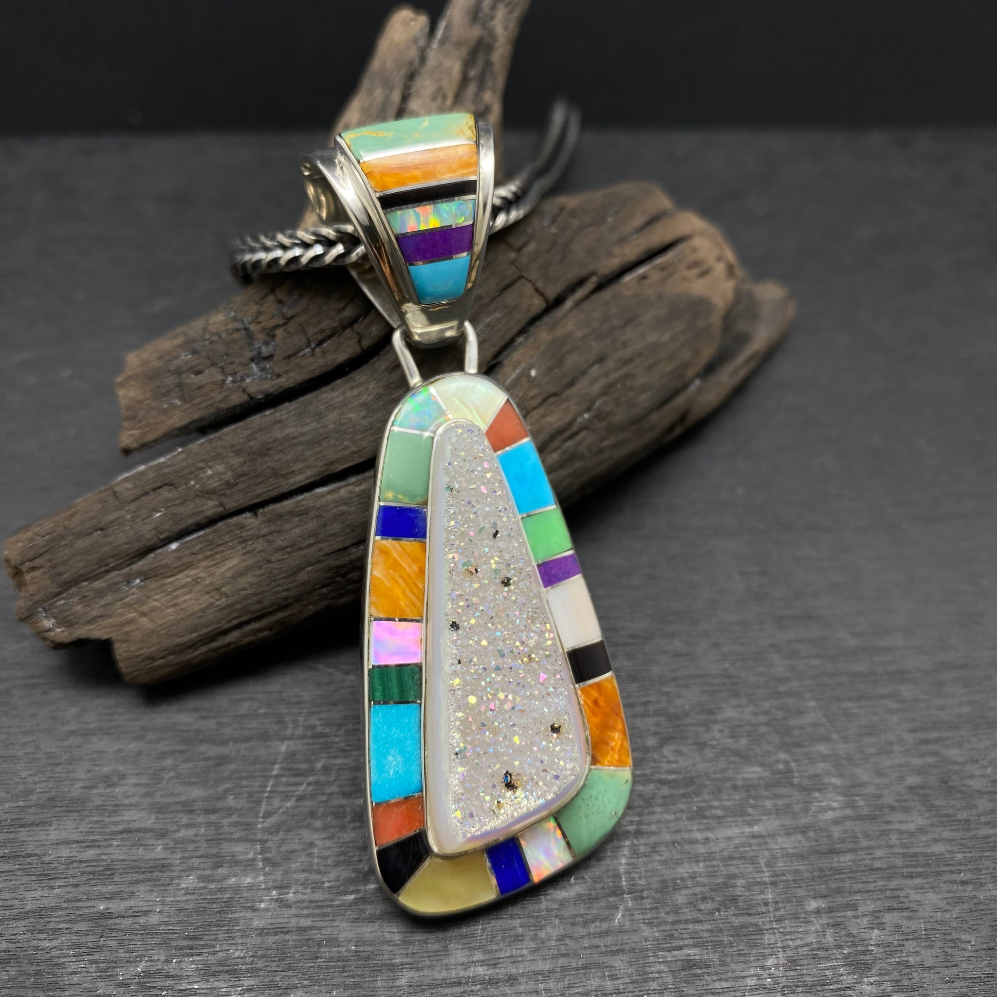 sterling silver multi stone inlay pendant by native american navajo artist selena warner