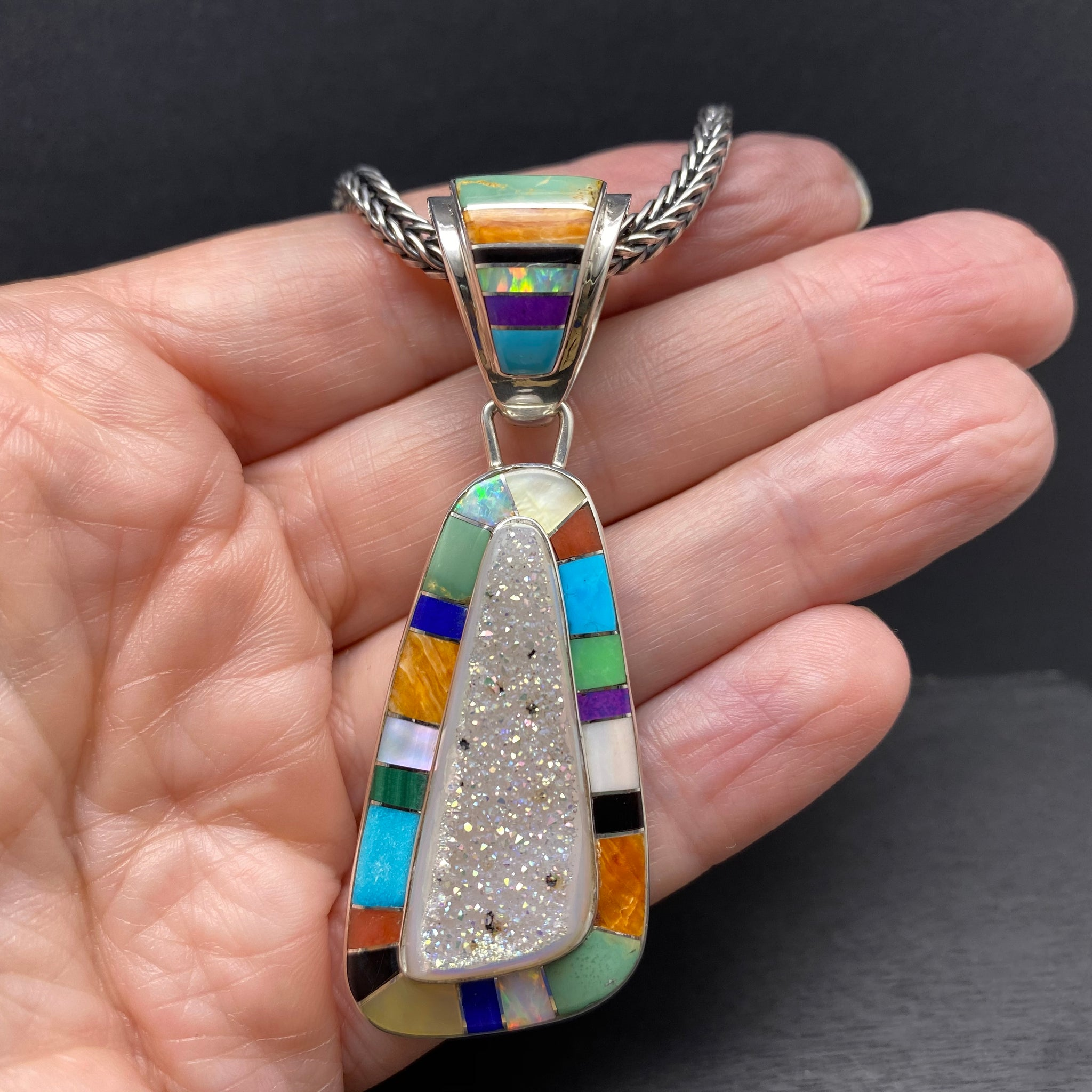 Sterling Silver Multi Stone Inlay Pendant by Selena Warner
