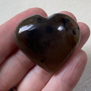 Dendritic Agate Heart Pocket Worry Stone