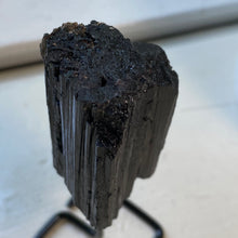 Raw Black Tourmaline Crystal Chunk On Stand