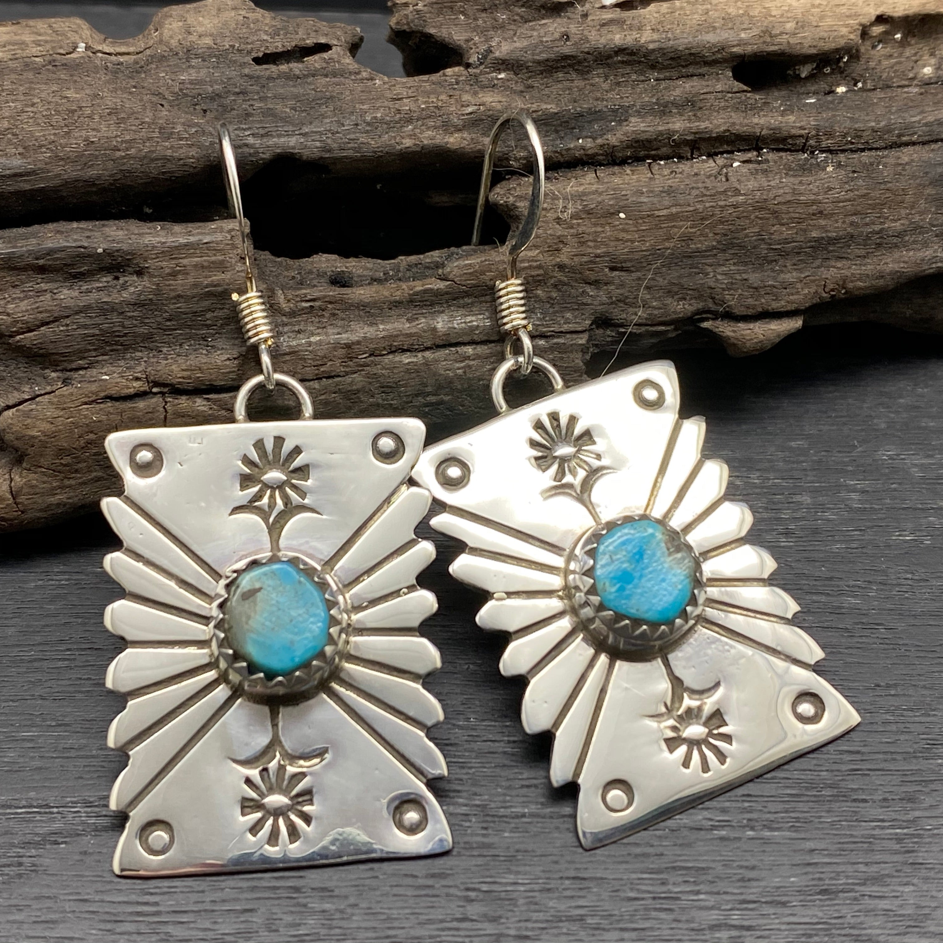 Sterling Silver Stamped Statement Earrings With Turquoise by Navajo Artist