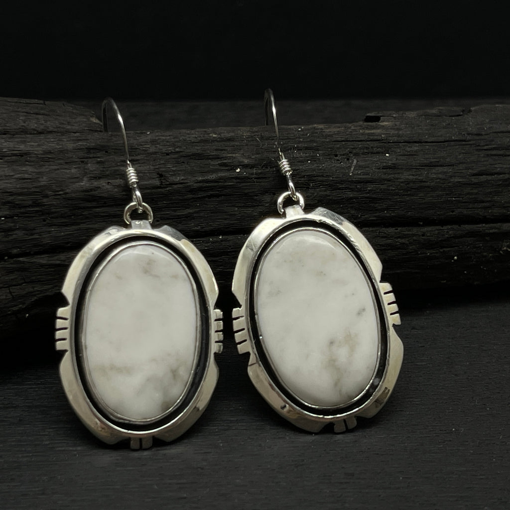 Navajo sterling silver white buffalo turquoise stone southwestern earrings