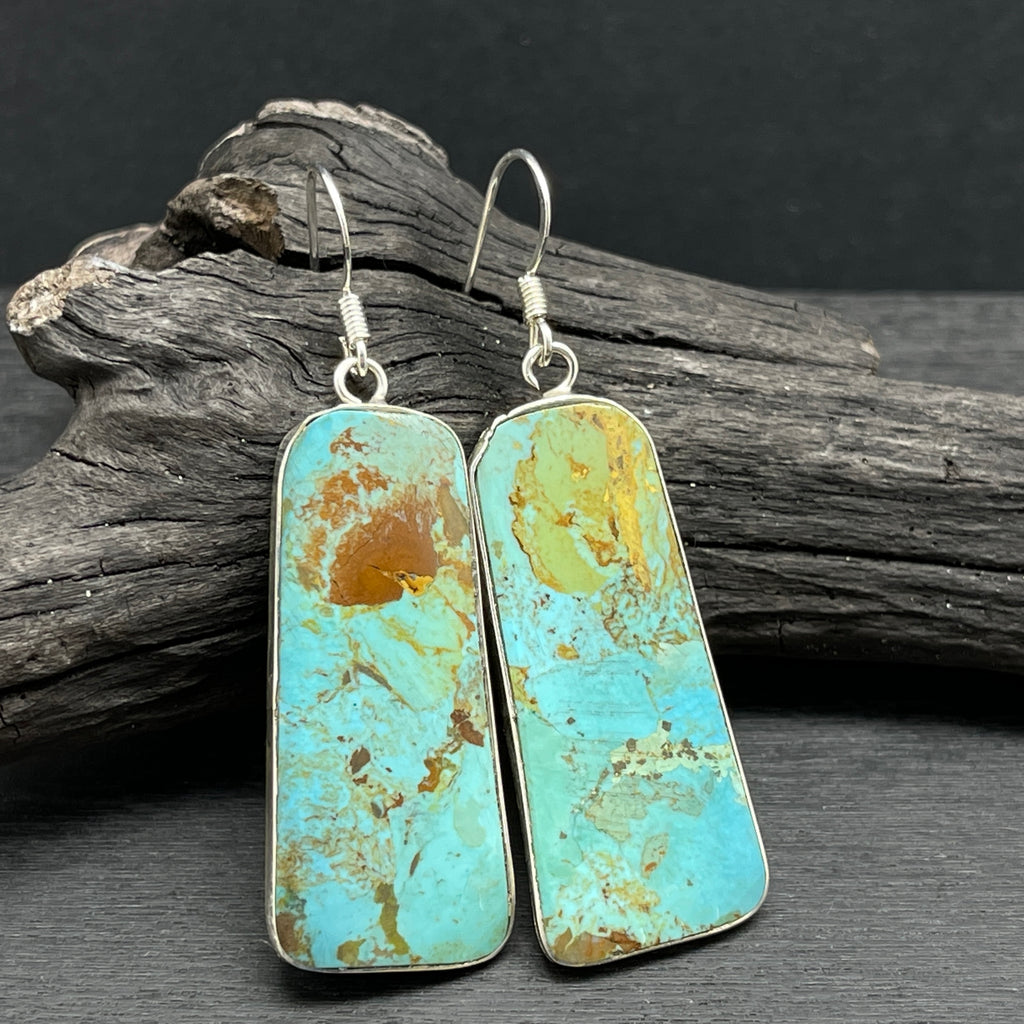 sterling silver turquoise slab earrings