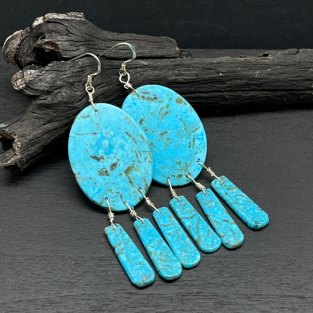 sterling silver turquoise slab dream catcher earrings