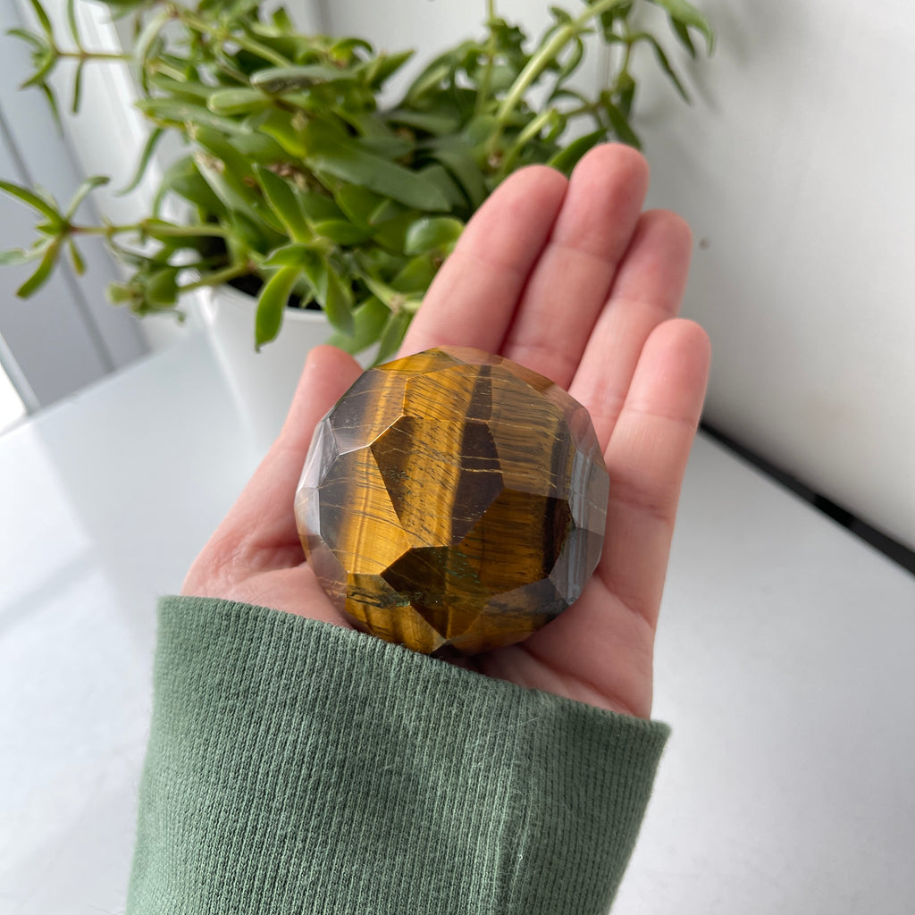 tiger  eye faceted sphere