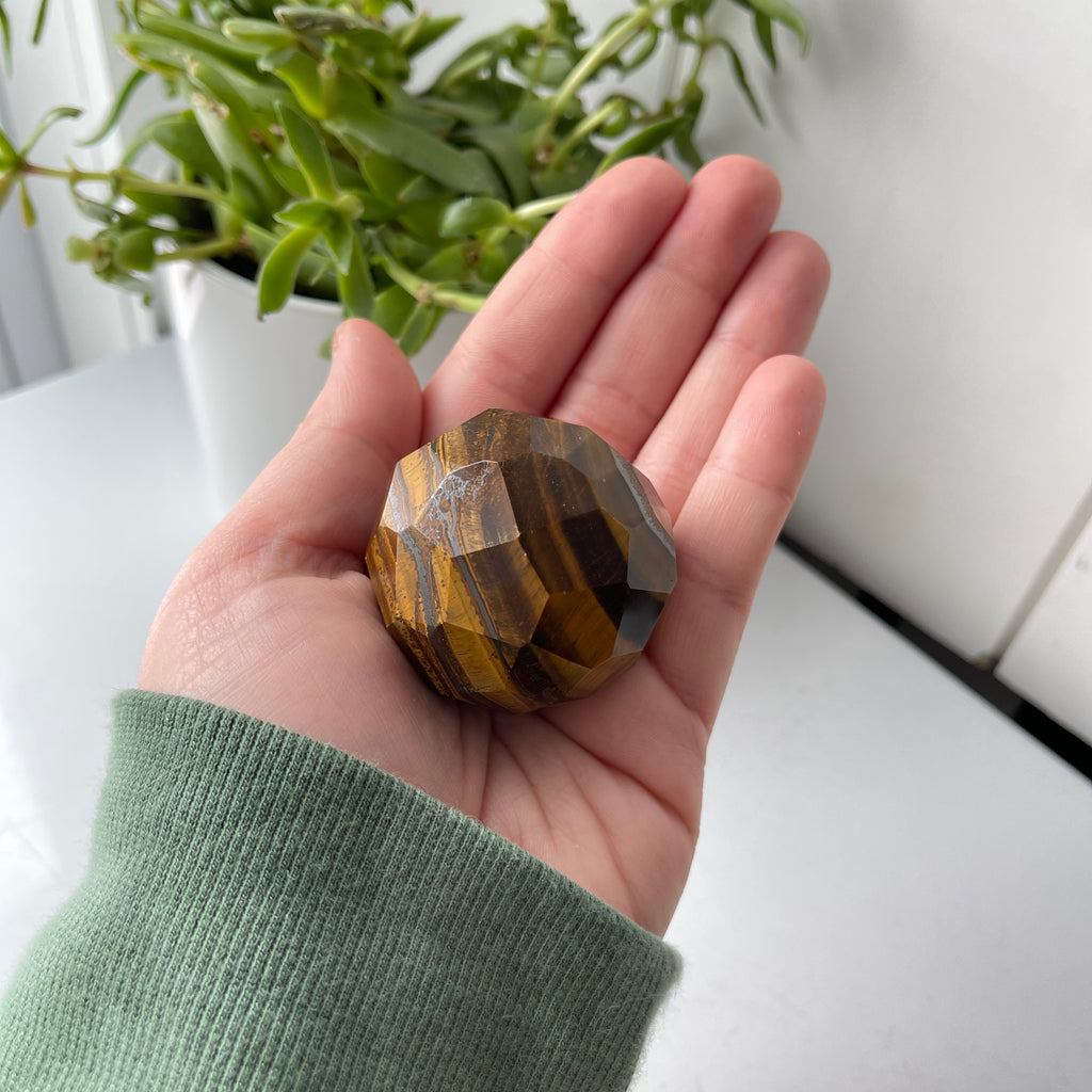 tiger eye faceted stone sphere