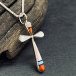 Load image into Gallery viewer, Zuni Artist L.B. Made Small Inlay Cross Necklace