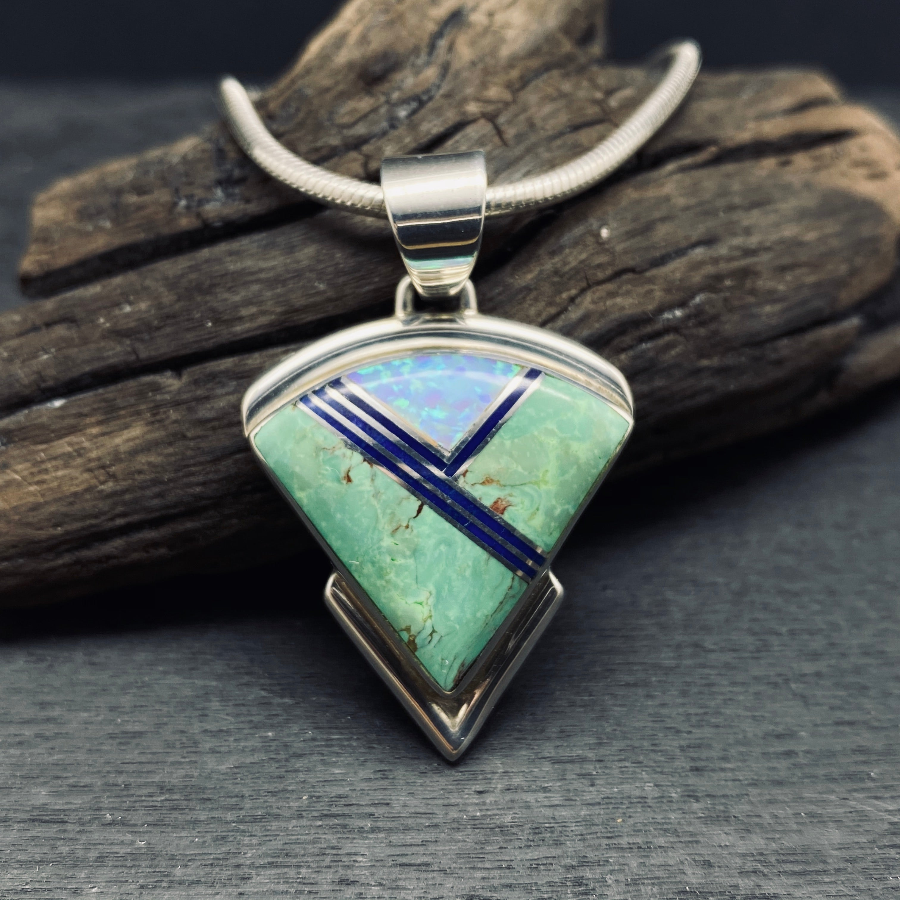 sterling silver Navajo inlaid pendant