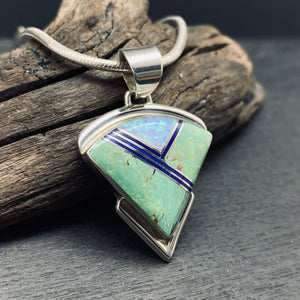 Native American Navajo Artist A Fransisco Sterling Silver Carico Lake Turquoise, Lapis Lazuli and Opal Inlay Necklace