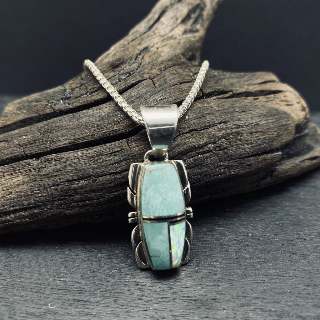 inlaid turquoise and opal Navajo pendant