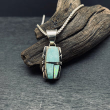 Navajo Artist Sterling Silver Turquoise and Opal Inlay Pendant