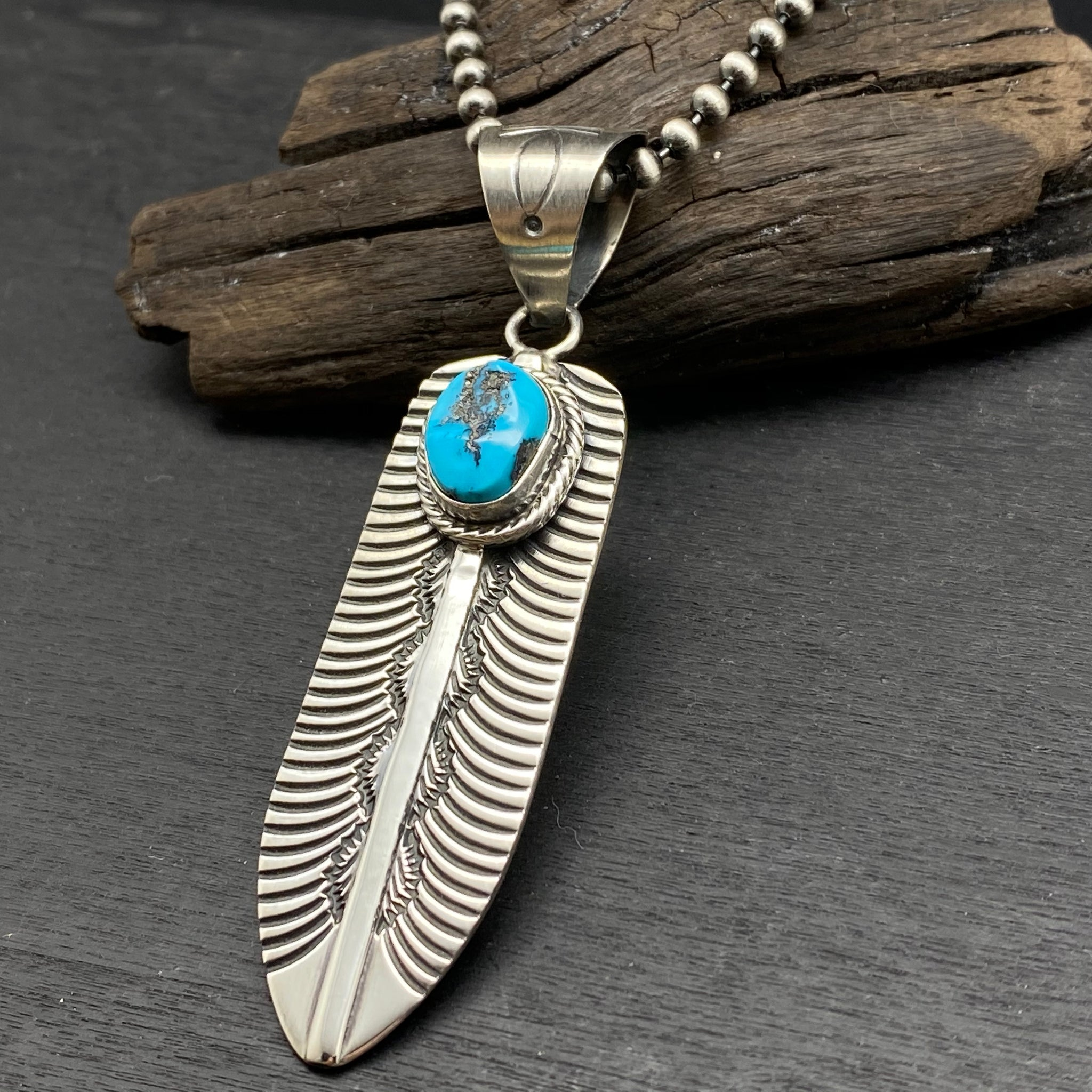 Sterling Silver Turquoise Feather Necklace by Mary Ann Spencer