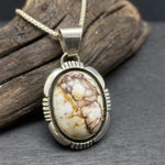 Load image into Gallery viewer, sterling silver navajo artist cooper willie wild horse magnesite pendant