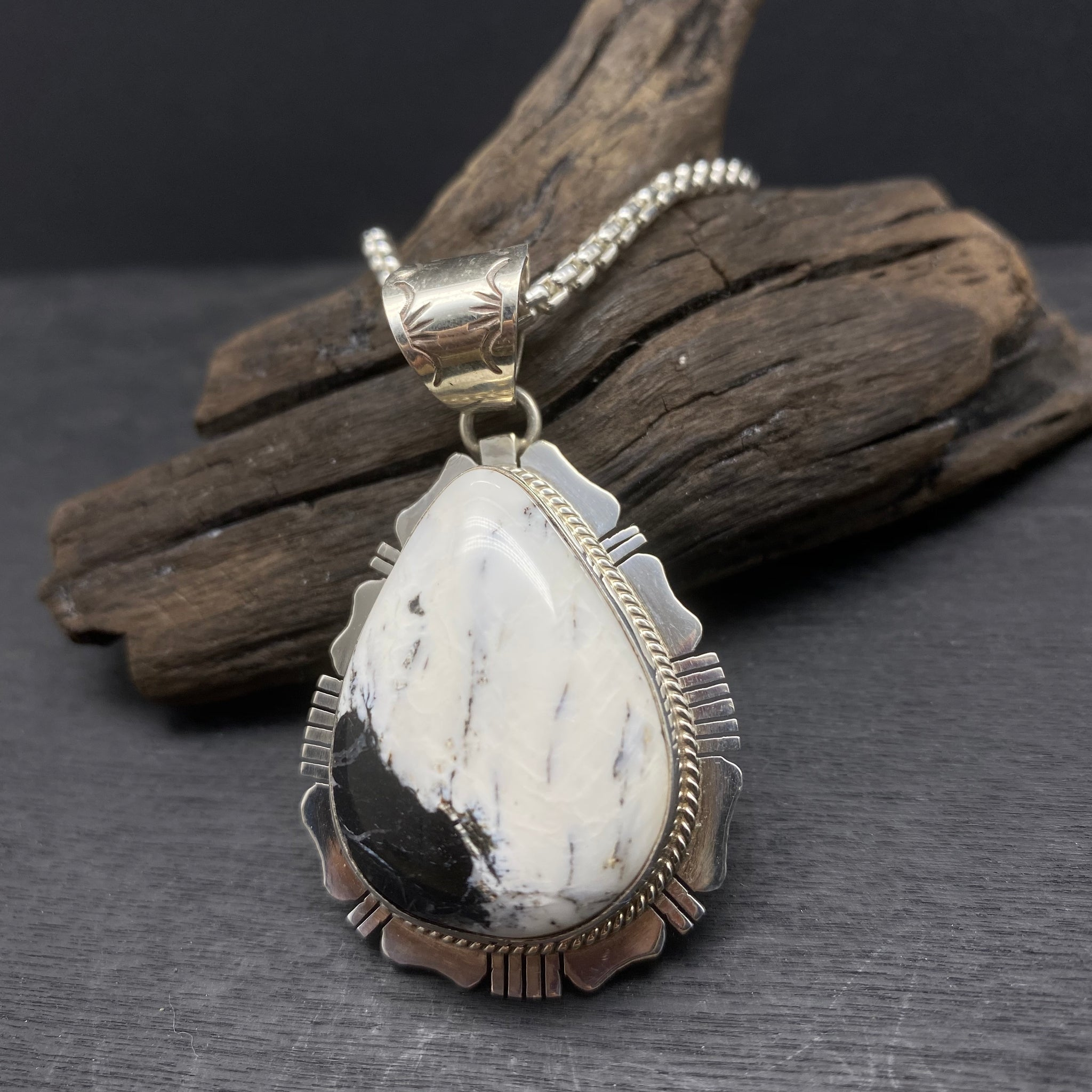 Sterling Silver White Buffalo Turquoise Necklace by Kathleen Yazzie