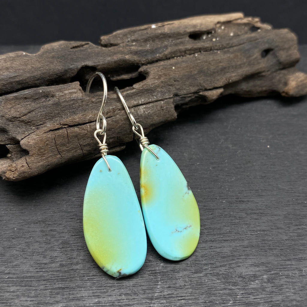 green and blue turquoise slab earrings sterling silver