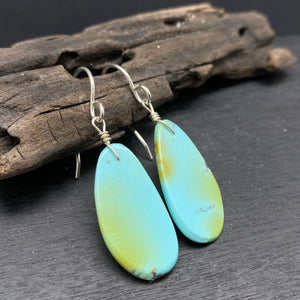 Sterling Silver Turquoise Slab Earrings by Ronald Chavez