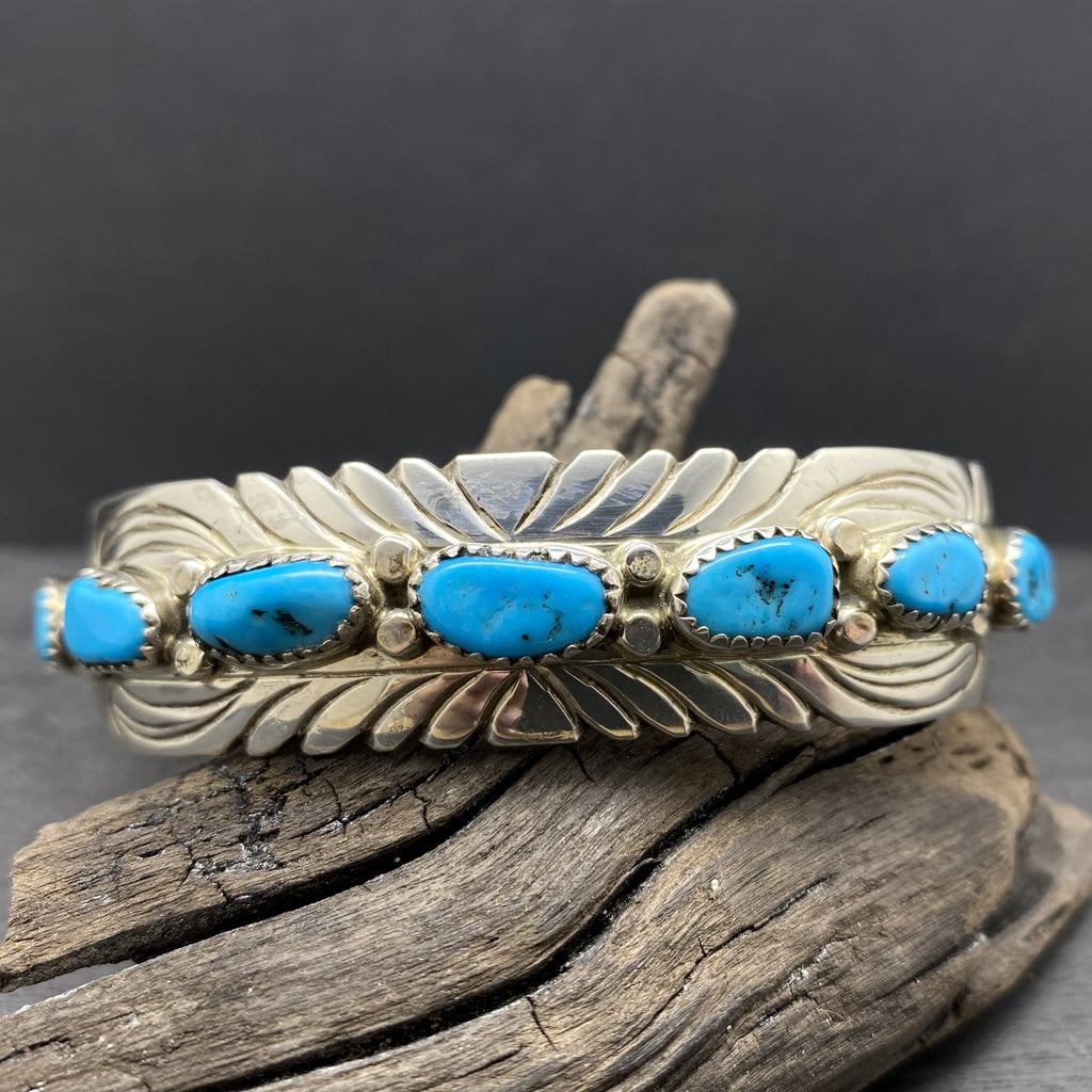 sleeping beauty sterling silver Navajo cuff bracelet