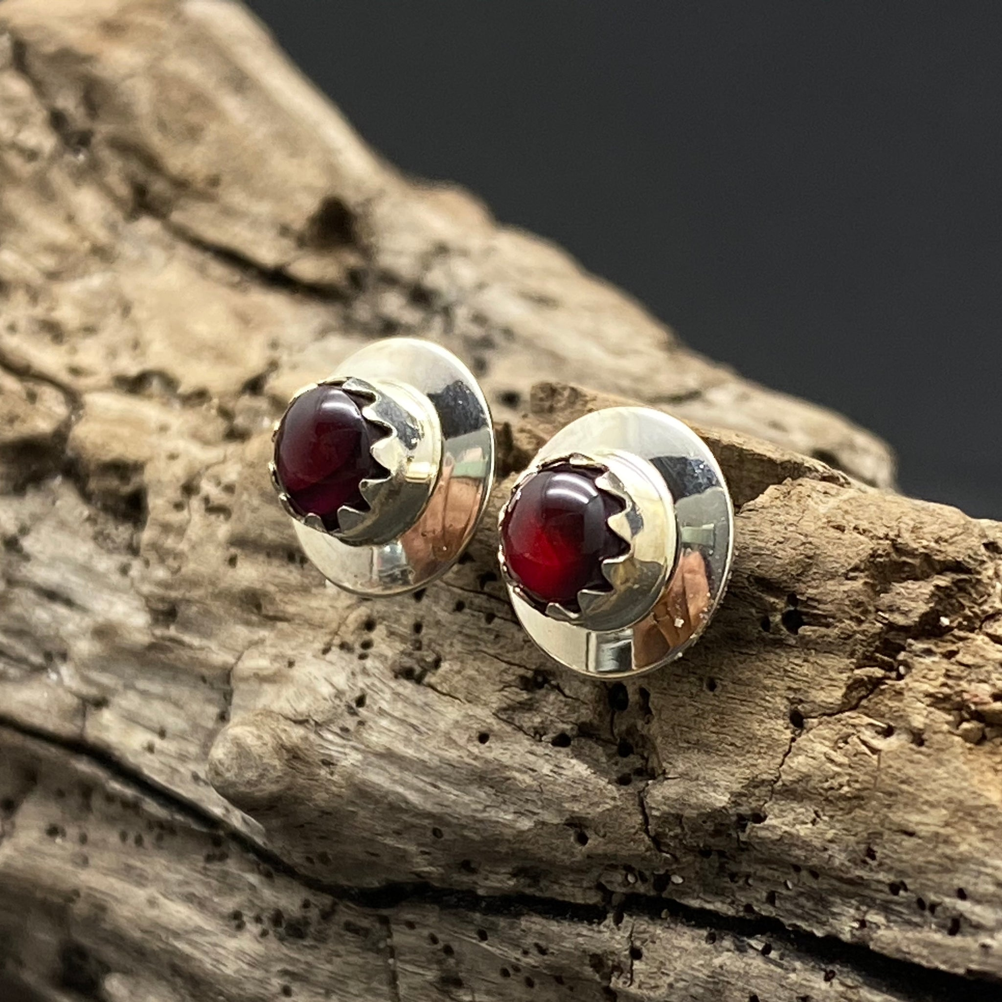 Sterling Silver Small Garnet Studs By Native American Artist