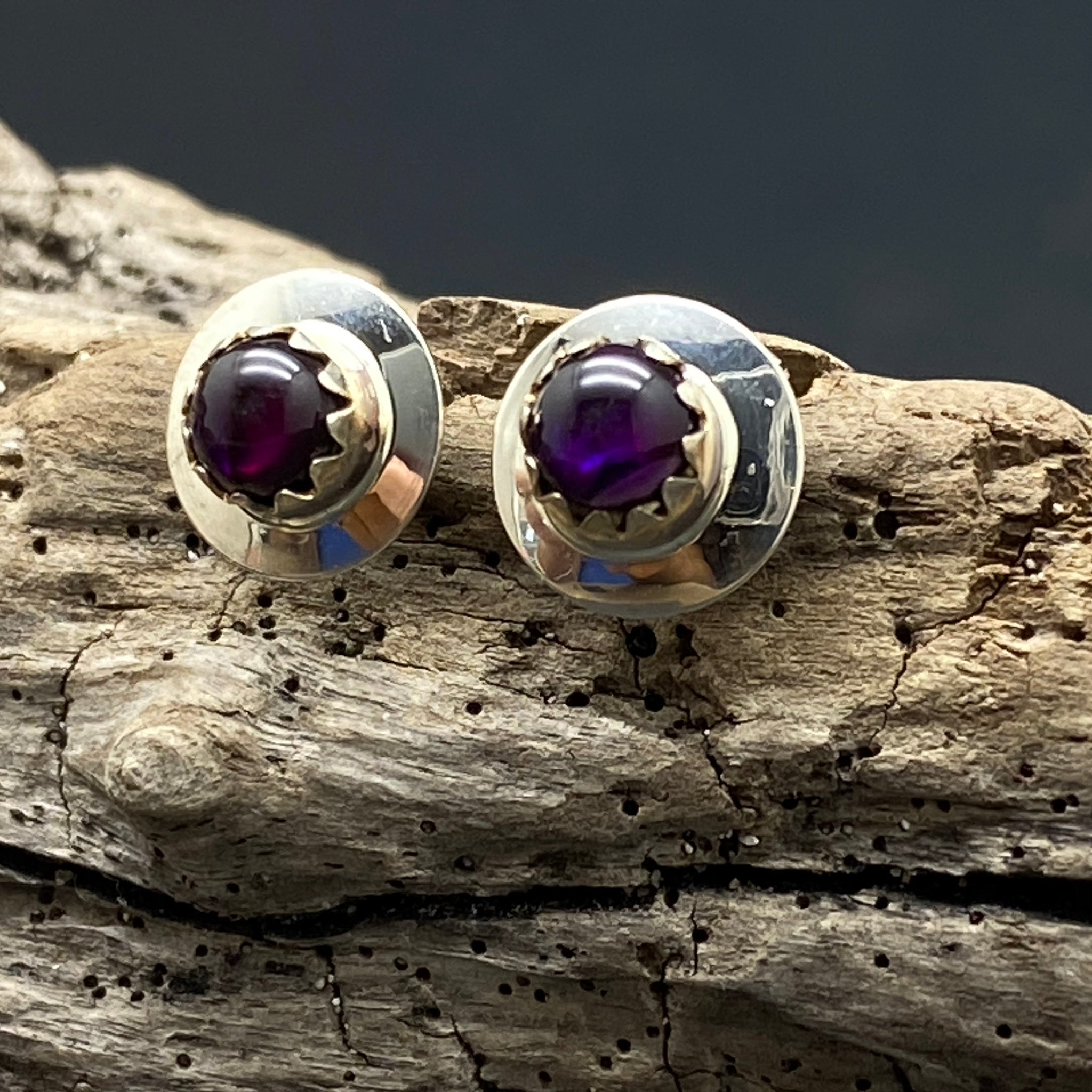 Sterling Silver Small Amethyst Studs By Native American Artist