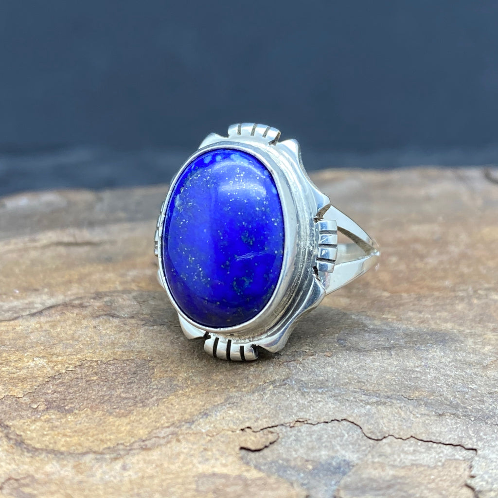 sterling silver lapis lazuli ring size 6.5 by native american navajo artist edward secatero