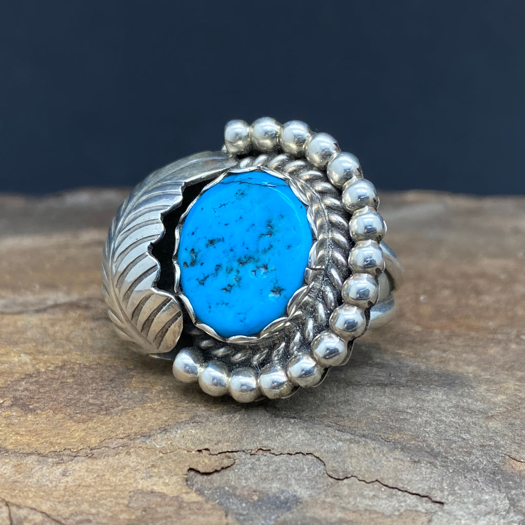 sterling silver turquoise ring size 5 by native american navajo artist sam arviso