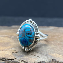 sterling silver azurite ring