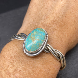 Sterling Silver Braided Cripple Creek Turquoise Cuff Bracelet By Wydell Billie