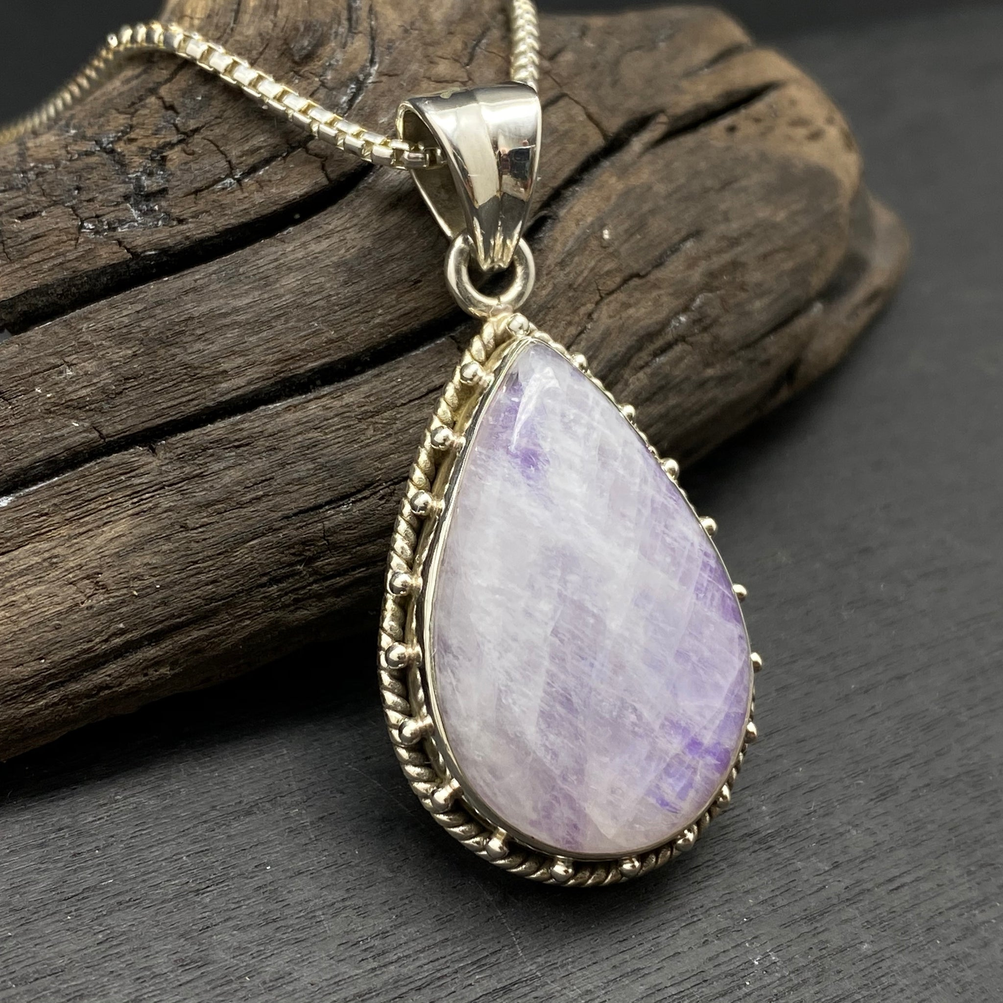 Sterling Silver Purple Rainbow Moonstone Necklace