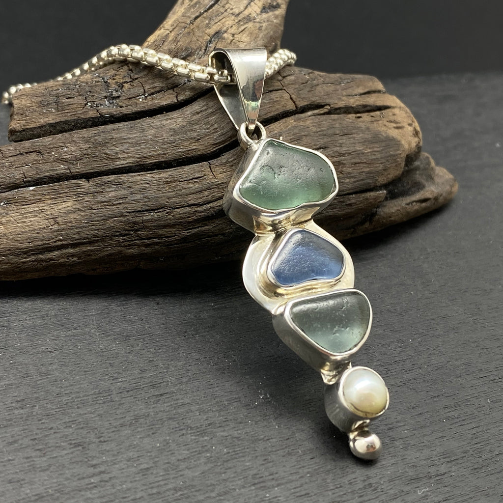 sterling silver natural sea glass and pearl necklace