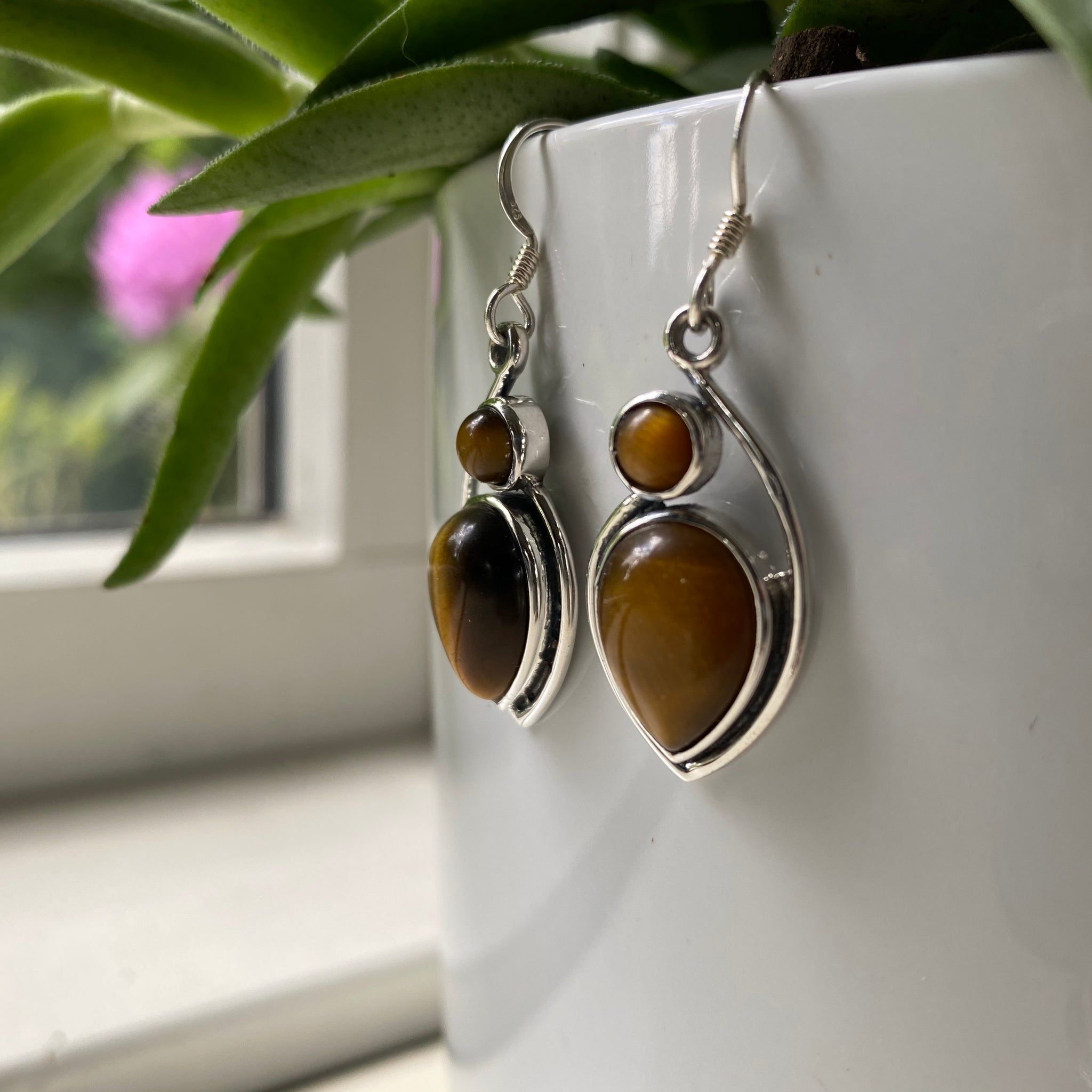 Sterling Silver Tiger Eye Two Stone Earrings