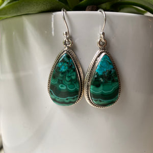 Sterling Silver Malachite And Azurite Earrings