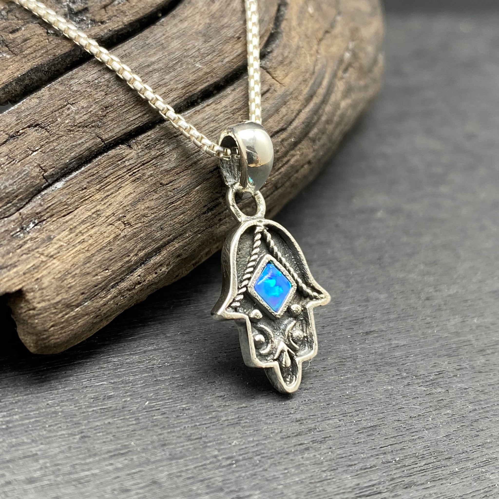 Sterling Silver Opal Hamsa Hand Necklace