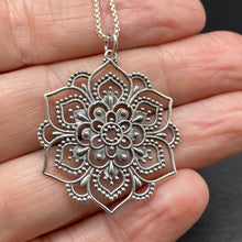 Sterling Silver Lotus Mandala Necklace