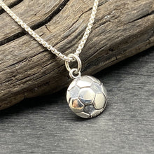 stelring silver soccer ball necklace